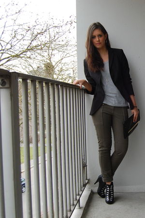 black Zara blazer - green H&M pants - black H&M boots