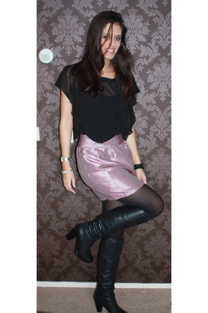 black Zara top - pink Urban Outfitters skirt - black Topshop boots