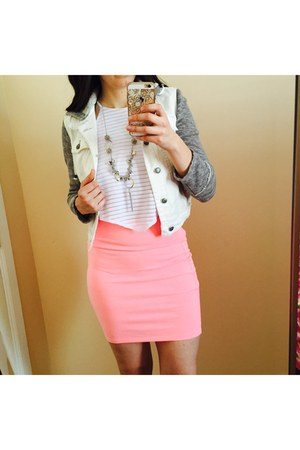 Charlotte Russe skirt - free people jacket - Charlotte Russe top