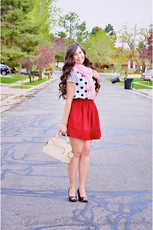 Sheinside skirt - scarvescom scarf - Macys wedges - Forever 21 top