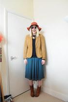 mustard suede vintage jacket - tawny vintage boots