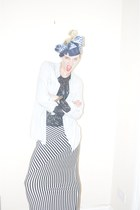 light blue denim shirt H&M shirt - navy silk scarf vintage scarf - black lace bl