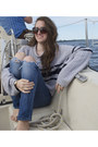 Heather-gray-sweater-navy-sweater-aldo-sunglasses-gold-bella-watch