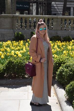 camel overcoat asos coat - gray maxi-dress Forever 21 dress