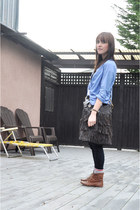 sky blue H&M shirt - tawny Urban Outfitters boots - black J Brand jeans