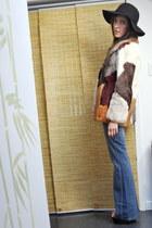 orange vintage coat - blue Rock & Republic jeans - black Urban Outfitters hat