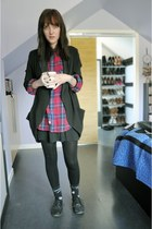 black wilfred jacket - red TNA shirt - black Talula skirt - black Aldo loafers