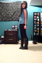 vintage vest - American Apparel shirt - Aritzia leggings - Zara boots