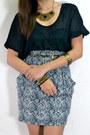 Black-sheer-blouse-black-heels-gray-printed-skirt-gold-accessories