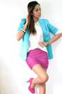 Turquoise-blue-suit-eggshell-top-hot-pink-skirt-hot-pink-heels