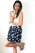 ivory sheer blouse - brown braided wedges - navy ribbon skirt - gold accessories