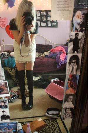 black Forever 21 heels - black skirt - ivory lace Target skirt