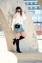 BLANCO skirt - clockhouse boots - Chicwish sweater - JollyChic bag