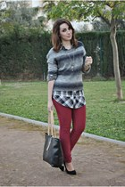 clockhouse sweater - clockhouse shirt - chicnova bag - Atmosphere heels
