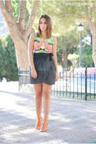 BLANCO skirt - Sheinside dress - Marypaz heels - romwe necklace