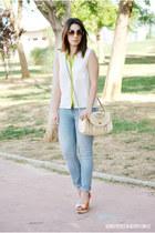 Xaro sastre bag - clockhouse jeans - PERSUNMALL blouse - Mia Rock heels