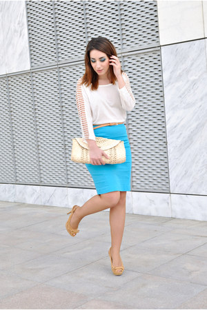 H&amp;M skirt - Xaro sastre bag - Dunnes belt - Marypaz heels - OASAP top