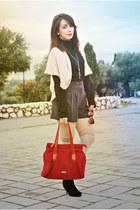 Valentino bag - clockhouse boots - Dunnes shorts - BLANCO panties - Kiabi cape