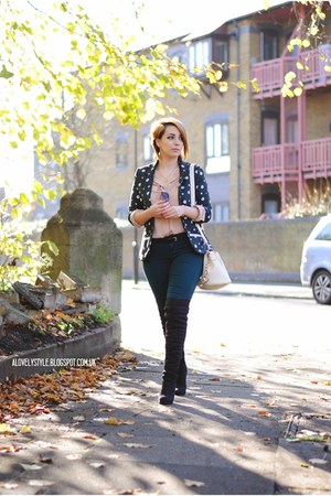 new look boots - sugarhill boutique blazer - JollyChic bag - Zara pants