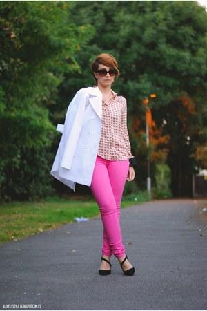 indigo paper jeans - Topshop blazer - romwe blouse - next heels