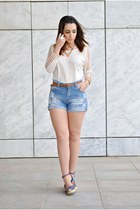 OASAP top - romwe shorts - Marypaz wedges