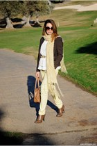 Amisu jacket - Savida boots - Dunnes bag - BLANCO belt - romwe top - Kiabi pants