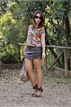 Pull & Bear skirt - Camaïeu bag - Sfera wedges - H&M top