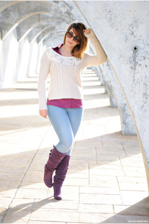 BLANCO boots - clockhouse jeans - free people sweater - Pull & Bear blouse