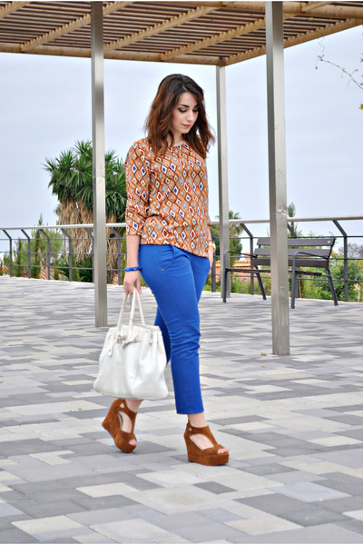 romwe top - BLANCO bag - BLANCO pants - OASAP wedges