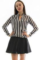 Stripe down wrap blouse