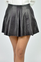 Pleat leather skater skirt