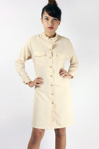 Gold studs shirtdress - nude