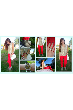 red H&M pants - white members only jacket - H&M blouse