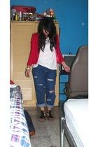 blazer - Hanes shirt - calvin klein jeans - shoes