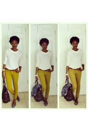 olive green Forever 21 jeans - white Forever 21 shirt