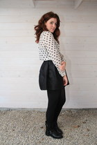 black Primark skirt - cream h&m divided blouse - black d earrings