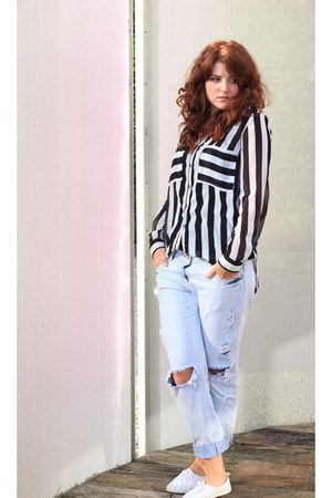 white Pimkie blouse - blue new look jeans