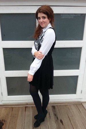 white c&a blouse - black new look dress - black new look wedges