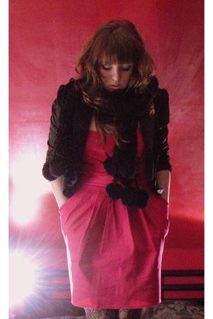 pink Newlook dress - black ZEB blazer - black scarf - black stockings