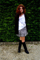 black new look boots - black H&M sweater - black Zara shirt - white H&M skirt
