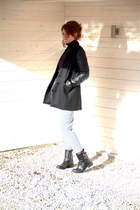 black Primark coat - black H&M boots - black vintage sweater