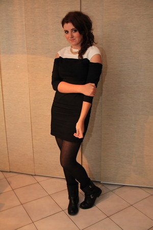 black H&M boots - white Zara dress - gold new look necklace