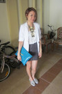 Off-white-blazer-blue-clutch-asos-bag-heather-gray-silence-noise-skirt