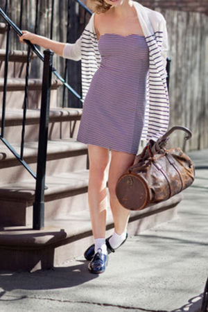 white cardigan - purple dress - black shoes - brown bag