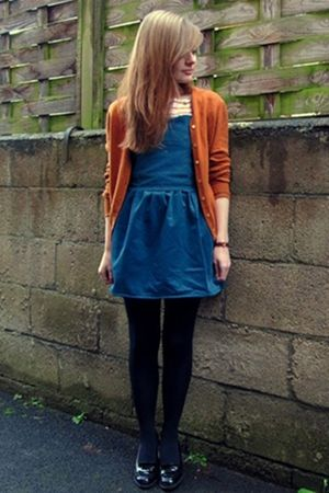 orange cardigan - blue dress