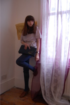 brown brogues new look shoes - blue skinny Lee jeans - gray baggy H&M t-shirt