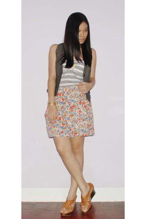 brown FNH top - gray Mango vest - Zara skirt - accessories