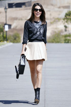black Zara blouse - beige Zara skirt