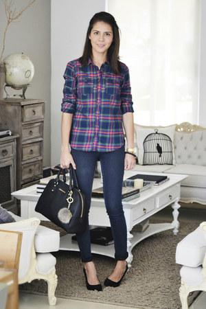 magenta abercrombie & fitch shirt - navy Zara jeans - black Zara heels