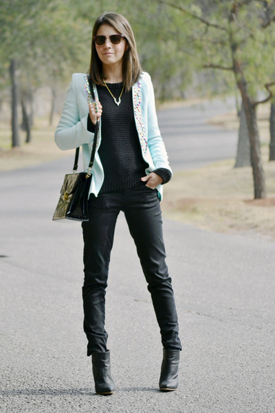 black Margiela boots - black Bershka sweater - light blue Anamac blazer